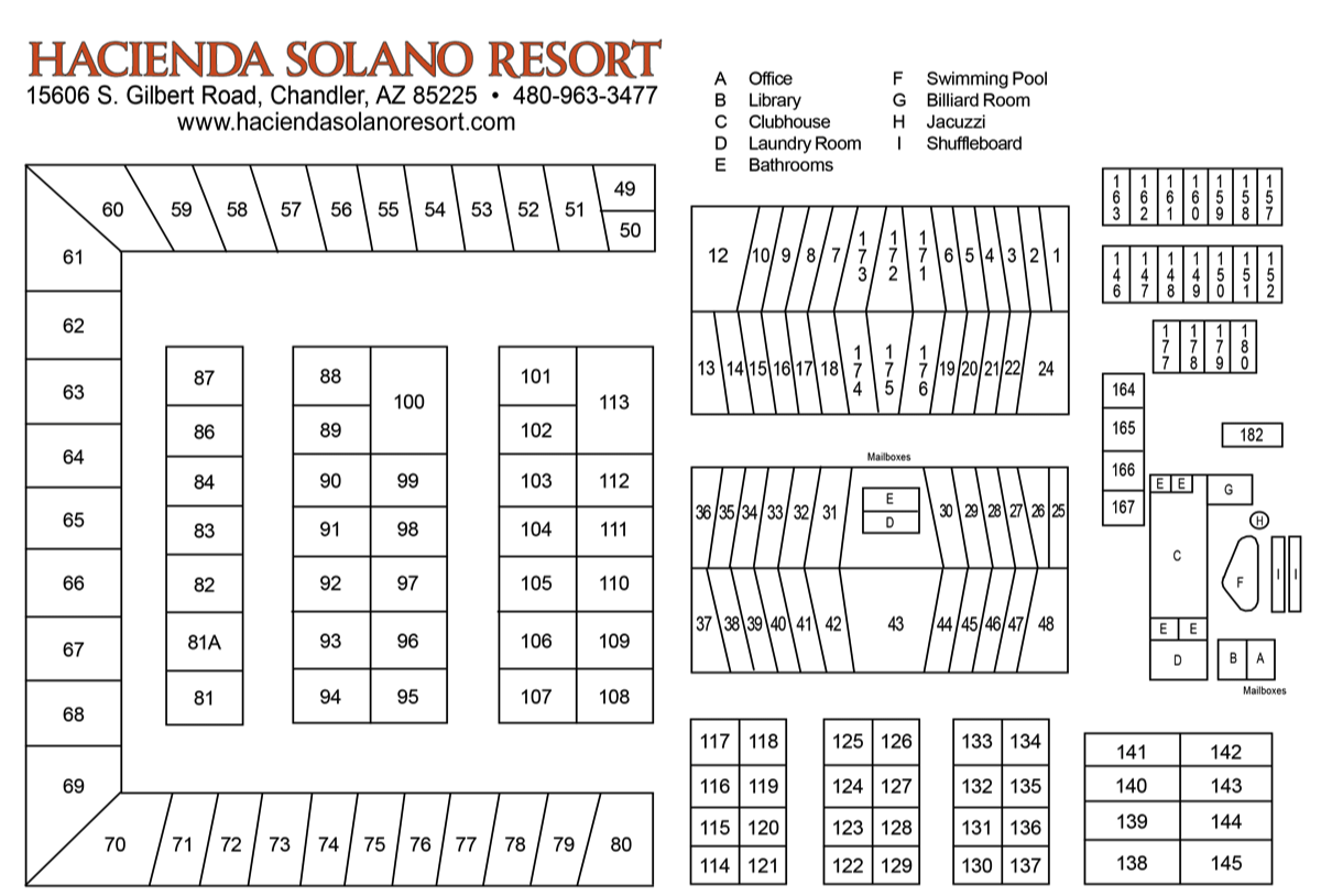 Mesa AZ Area Mobile Home Park Map Hacienda Solano Resort